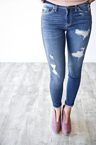 LINDEE DISTRESSED DENIM | MEDIUM WASH