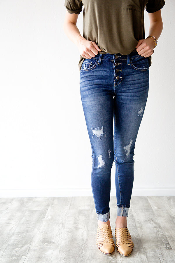 ALIX DISTRESSED BUTTON FRONT DENIM