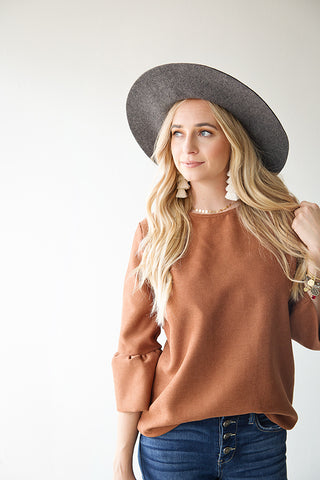ALBANY BUTTON BACK BLOUSE | DARK RUST