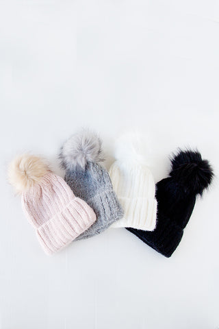 SNOW MUCH FUN FUR POM BEANIE | 4 COLORS