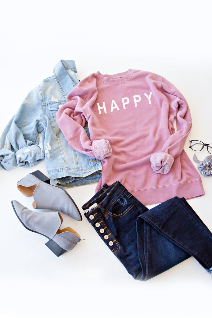 HAPPY GRAPHIC PULLOVER | MAUVE