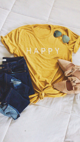 HAPPY GRAPHIC TEE | MUSTARD