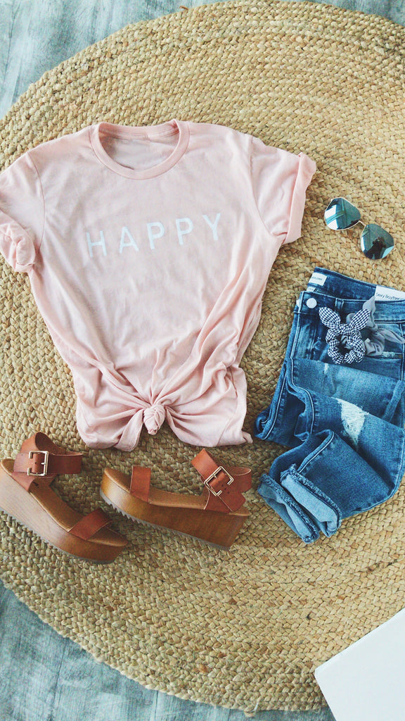 HAPPY GRAPHIC TEE | PEACH