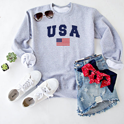 USA WITH FLAG PULLOVER  | GREY