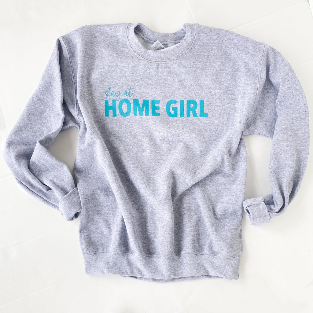 STAY AT HOME GIRL PULLOVER | GREY WITH TEAL