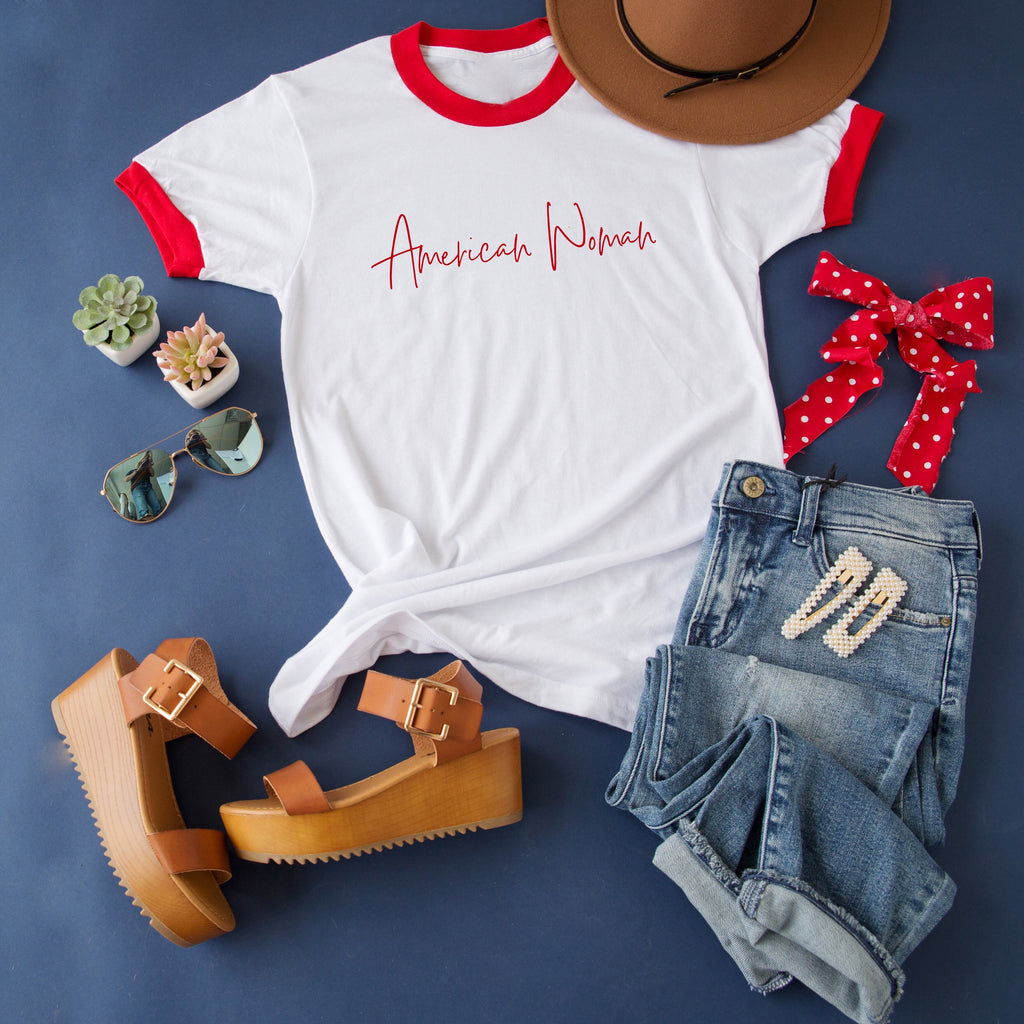 AMERICAN WOMAN RINGER TEE | RED