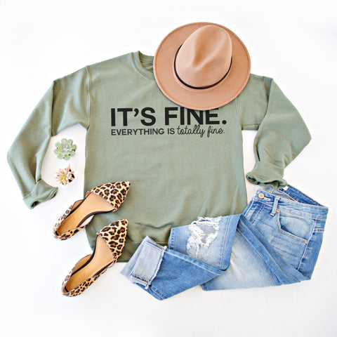 IT'S FINE PULLOVER | OLIVE AND BLACK