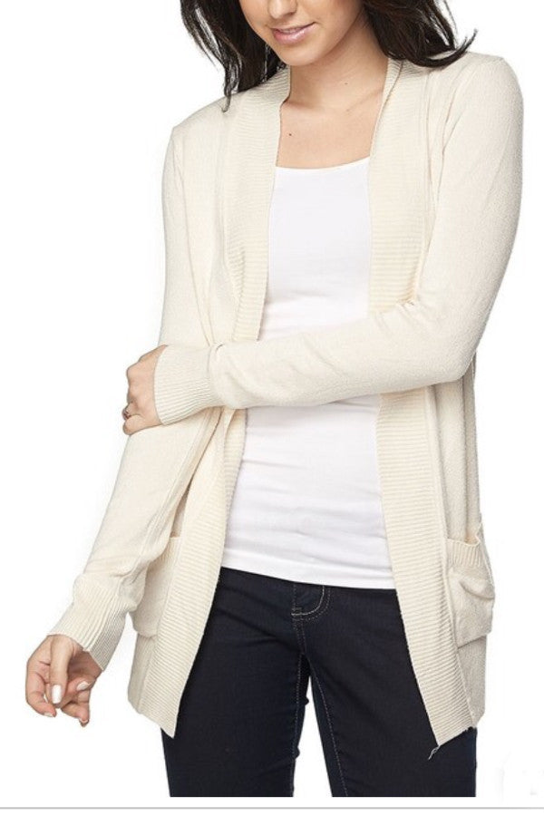 OPEN FRONT CARDIGAN WITH POCKETS | IVORY