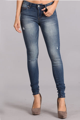 TANYA'S FAVORITE: MEDIUM WASH DISTRESSED KNEE DENIM