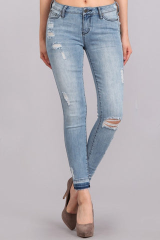 TANYA'S FAVORITE: UNFINISHED HEM LIGHT WASH DENIM