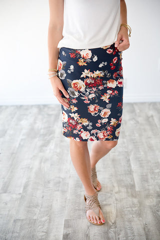 AURORA FLORAL PENCIL SKIRT | NAVY