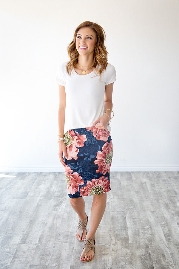 HARLOW FLORAL PENCIL SKIRT | NAVY & BLUSH