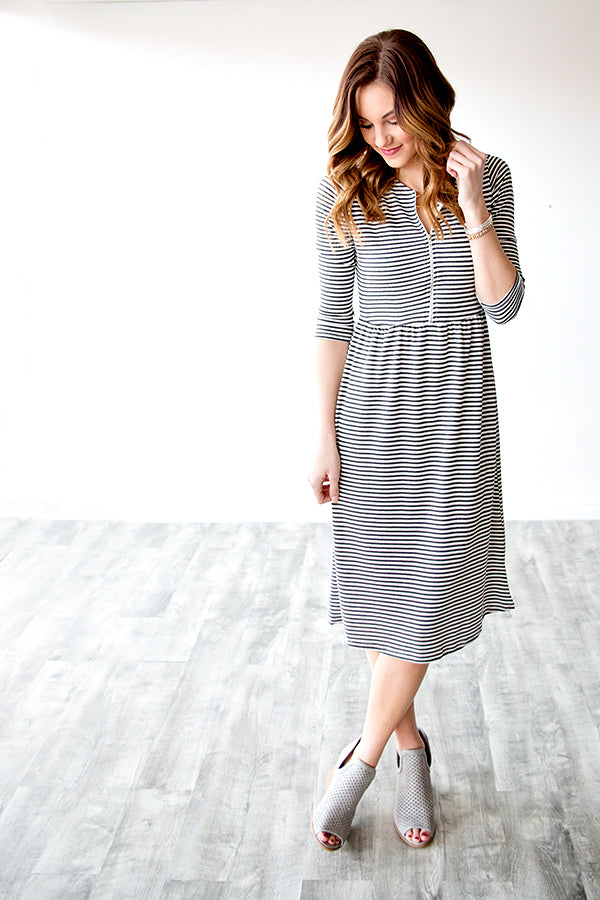 JESSA STRIPED ZIPPER DRESS