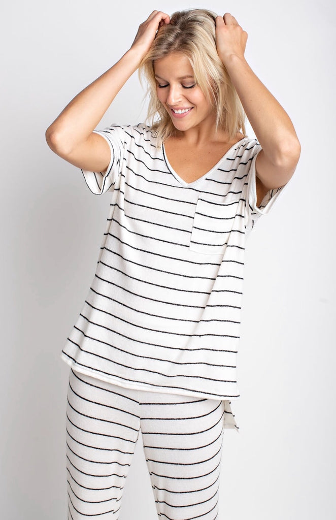 STRIPED LOUNGE WEAR TOP | IVORY