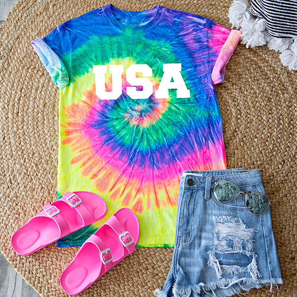 ** PRE ORDER **  MOMMY AND ME | USA TIE DYE TEE | NEON SWIRL