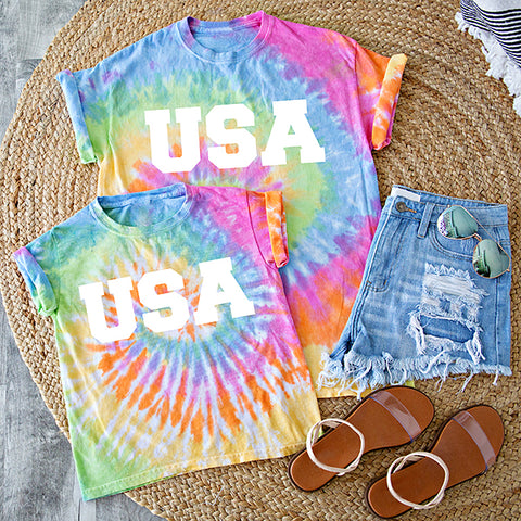 ** PRE ORDER ** MOMMY AND ME | USA TIE DYE TEE | SHERBERT SWIRL