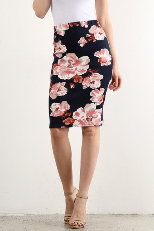 NAVY FLORAL WATERCOLOR PENCIL SKIRT
