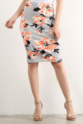 GREY FLORAL WATERCOLOR PENCIL SKIRT