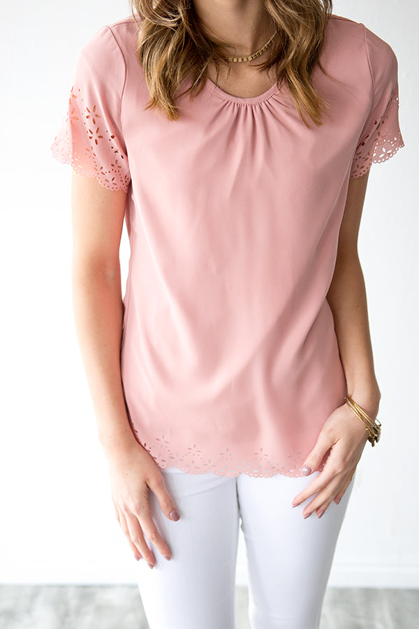 KEIRA LASER CUT BLOUSE | BLUSH