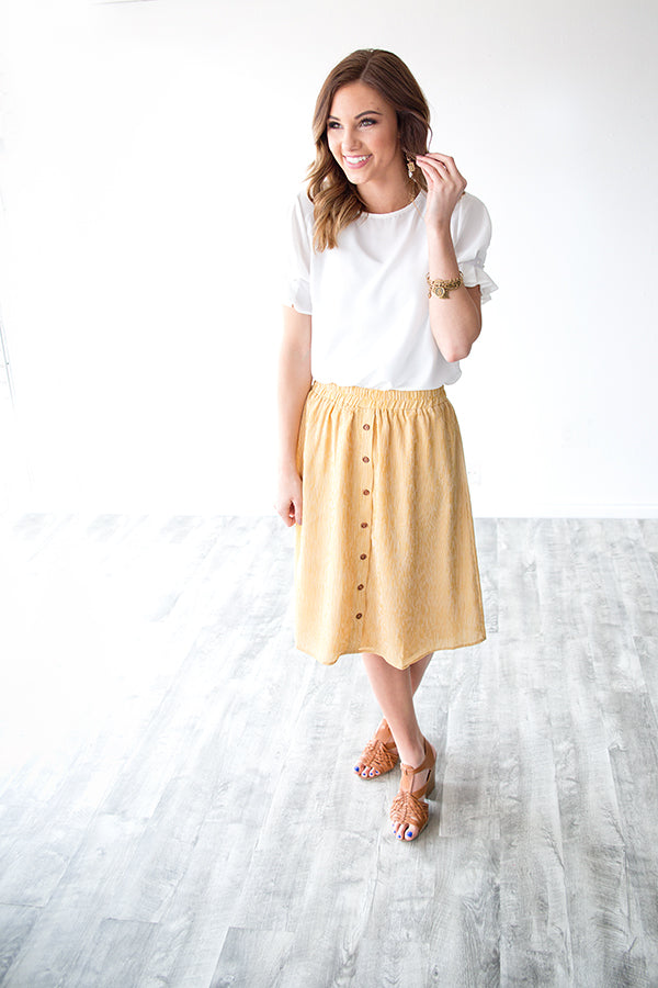 ROSALIE BUTTON FRONT SKIRT | MUSTARD