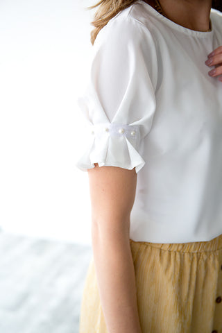 REMI PEARL SLEEVE BLOUSE | IVORY
