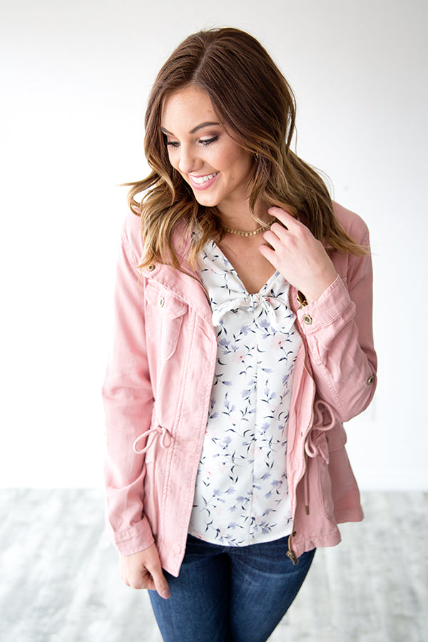 TANYA'S FAVORITE BLUSH UTILITY JACKET