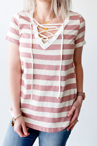 ARLOW LACE UP FRONT STRIPED TOP | DUSTY MAUVE