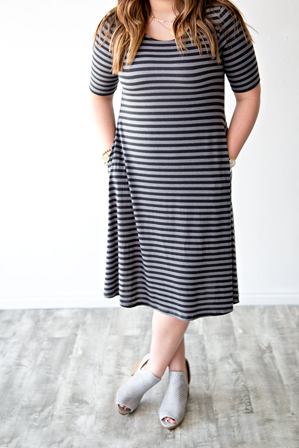CHLOE SWING DRESS | BLACK STRIPE