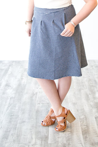 ARABELLA PLEATED DENIM STRIPE SKIRT