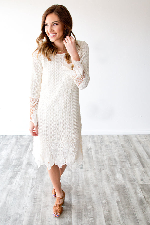 LYDIA LACE DRESS | CREAM