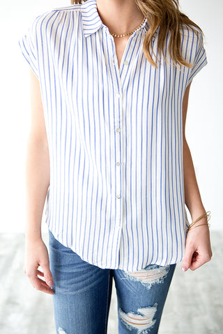DEVIN STRIPED BUTTON UP BLOUSE