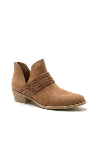SOCHI BRAIDED ANKLE BOOTIE | CAMEL