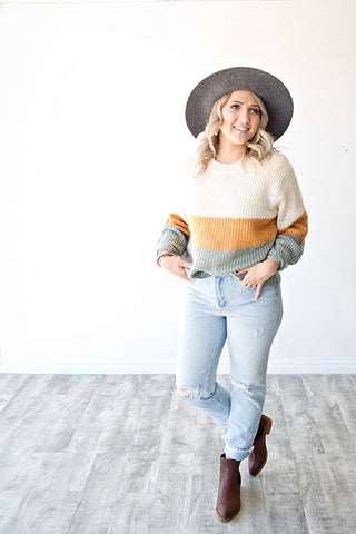 WHAT YOU WANT COLOR BLOCK SWEATER