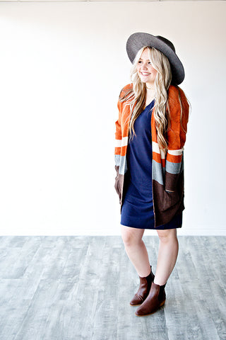 CROSS THE LINE COLOR BLOCK CARDIGAN | RUST