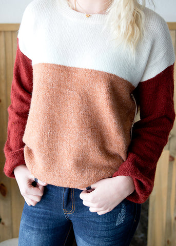 ROSE COLOR BLOCK SWEATER | BURGUNDY