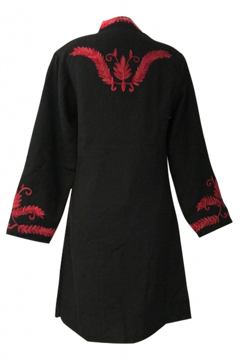 Black with Red Maharani Pure Wool Jacket