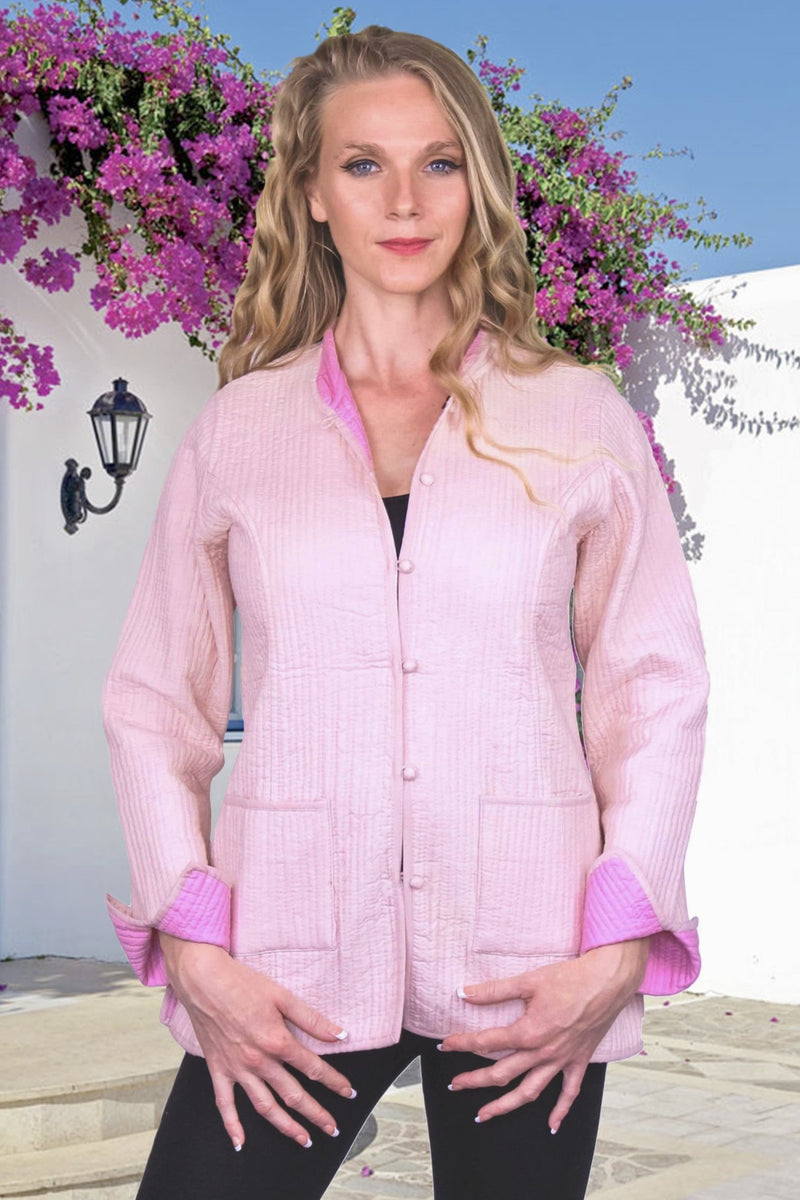 Light Pink with Deep Pink Reversible Short Cotton Quilted Jacket