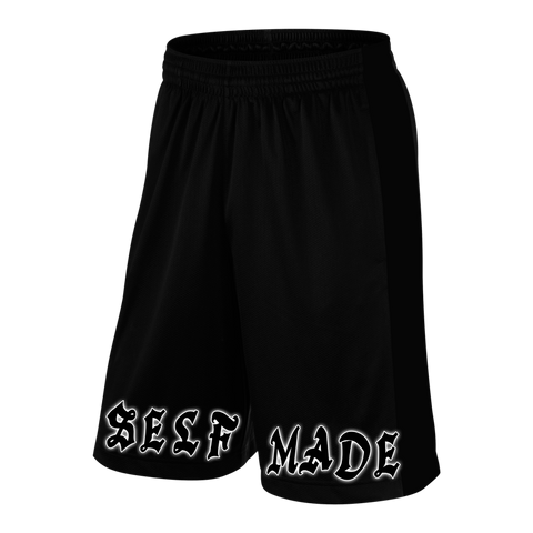 SELF MADE, Black Shorts with White Lettering - Pro-flexx