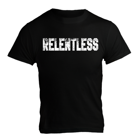 RELENTLESS, Black T-Shirt with White Lettering - Pro-flexx