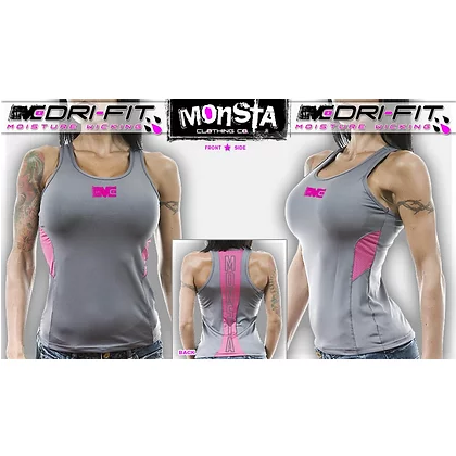 Monsta drift tank top - grey/pink - Pro-flexx