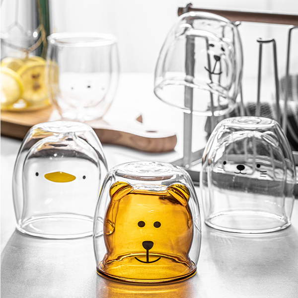 Honey Bear Double Wall Glass