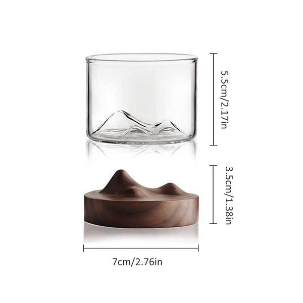 Topography Whisky Glass - Dark Walnut