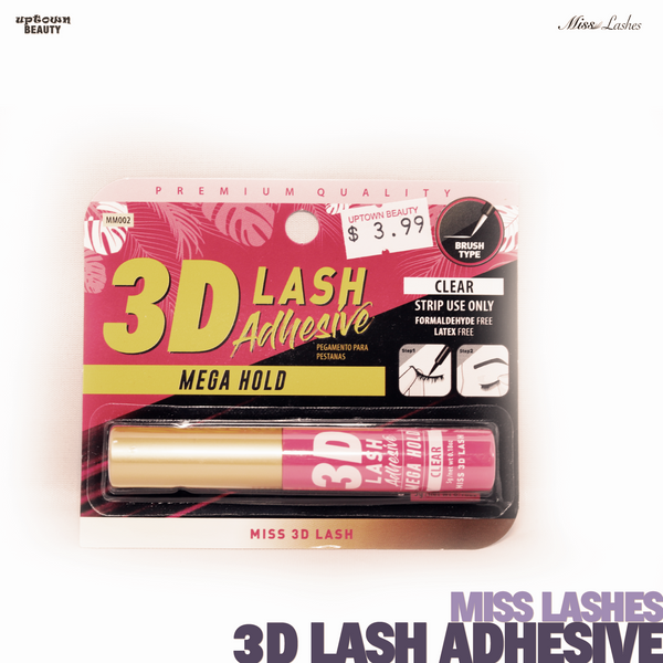 Miss Lashes 3D Volume False Eyelash - 3D Lash Adhesive Mega Hold (Clear)
