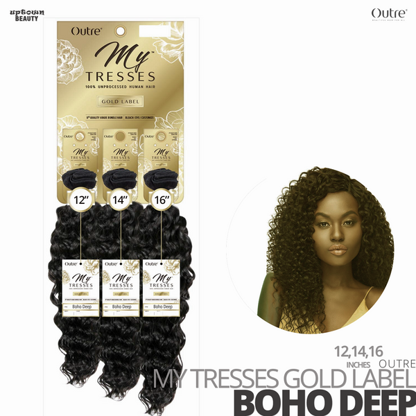 OUTRE Human Bundle- My Tresses Gold Label -# Boho Deep 12-14-16 inches