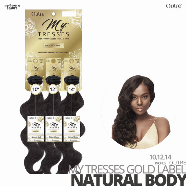 OUTRE Human Bundle- My Tresses Gold Label -# Natural Body 10-12-14 inches