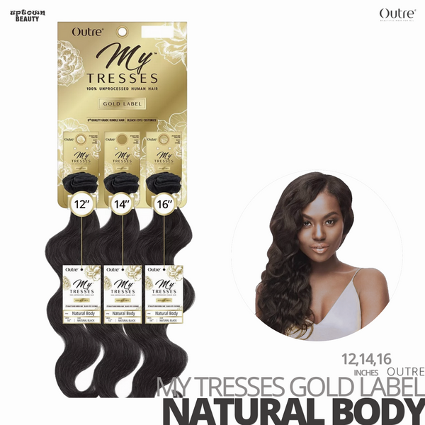 OUTRE Human Bundle- My Tresses Gold Label -# Natural Body 12-14-16. inches