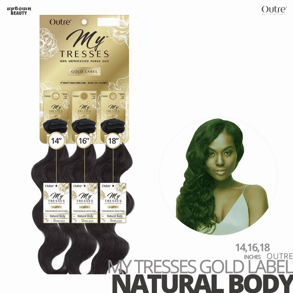 OUTRE Human Bundle- My Tresses Gold Label -# Natural Body 14-16-18. inches