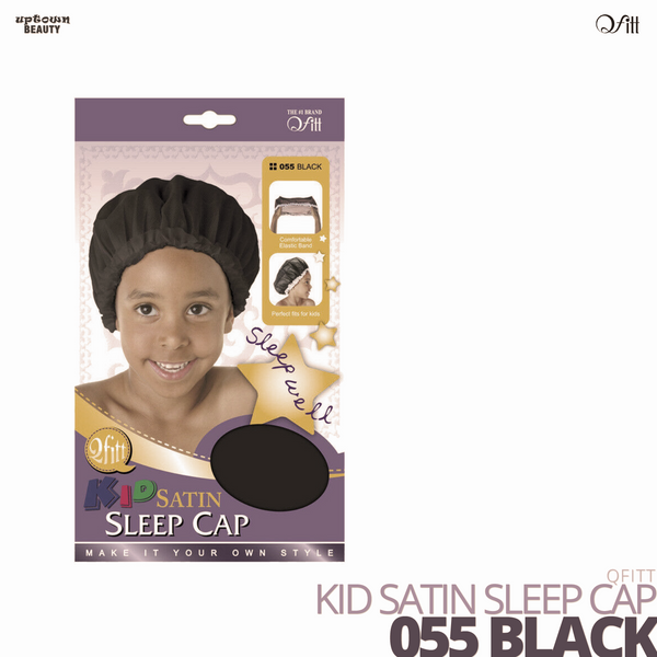 QFITT - Kid Satin Sleep Cap #055 Black