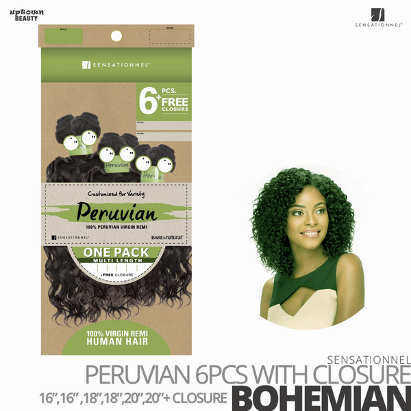 Sensationnel Bare&Natural Bundle Pack Virgin Human Hair #Bohemian #16.16.18.18.20.20 inches with Closure