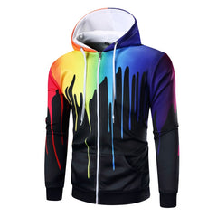 Unique Outfit for MenRainbow Splash Hooded Pullovers 3D Printed